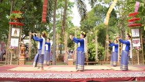 Fingernail dance in chiangmai Thailand. CHIANGMAI THAILAND APRIL 14 : 2014:Fingernail Dance Chiangmai Songkran Inheritance at Wat Changkum Wiang Kam Saraphi stock video