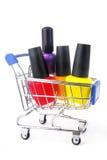 Fingernail enamel in shopping trolley Royalty Free Stock Photo