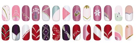 Fingernails. Artificial finger nail design polished with colorful acrylic Stock Image