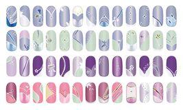 Fingernails. Artificial finger nail design polished with colorful acrylic Royalty Free Stock Photos