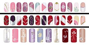 Fingernails. Artificial finger nail design polished with colorful acrylic Stock Photos