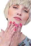 fingernails målade kvinnan arkivbild