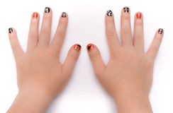 Fingernails painted artistically for Hwlloween Royalty Free Stock Image