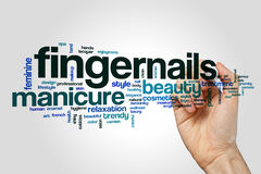 Fingernails word cloud concept on grey background Royalty Free Stock Images