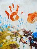 Fingerpaint op muur Stock Fotografie