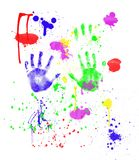Fingerpainting. Colorful fingerpainting with hand prints and paint spatter isolated on white Stock Photos