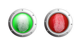 Fingerprint. With two colors green an red Royalty Free Stock Photos