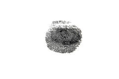Fingerprint. Black texture of fingerprint on white Stock Photo