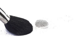 Fingerprint. Black powder and brush Stock Photography