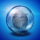 Fingerprint. Enclosed in glass sphere with ID number Stock Image