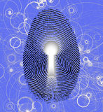 Fingerprint. Lock and atomic particles Royalty Free Stock Photo