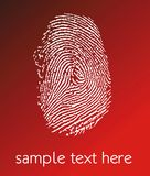 Fingerprint. White fingerprint on red background Stock Photo