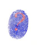 Fingerprint. Question mark on finger print Royalty Free Stock Photography