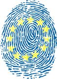 Fingerprint. A fingerprint recalling the flag of European Union Stock Photos