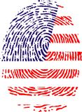 Fingerprint. A fingerprint recalling the flag of United States Stock Photos