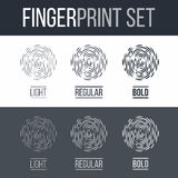 Fingerprint. Abstract Biometric Fingerprint Icons Set, Sci-Fi Future Identification Authorization System on Dark and White Background Royalty Free Stock Photography