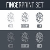 Fingerprint. Abstract Fingerprints Icons Set for Identity Person on Dark and White Background Royalty Free Stock Images