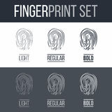 Fingerprint. Abstract Fingerprints icons Set for Identity Person Security ID on Dark and White Background Stock Photos