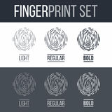 Fingerprint. Abstract Fingerprint Icons Set, Future Identification Authorization System on Dark and White Background for Design Stock Images
