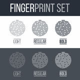 Fingerprint. Abstract Fingerprint Icons Set, Sci-Fi Future Identification Authorization System on Dark and White Background Royalty Free Stock Photos