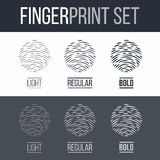 Fingerprint. Abstract Fingerprint Icons Set, Sci-Fi Future Identification Authorization System on Dark and White Background for Design Stock Images