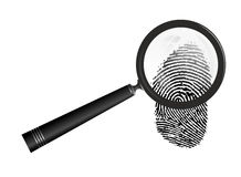 Fingerprint. Abstract illustration of magnifier examining a fingerprint Royalty Free Stock Photography