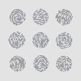 Fingerprint. Abstract Round Fingerprint Patterns for Identity Person Security ID on Gray Background for Design Royalty Free Stock Photo