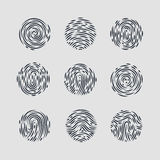 Fingerprint. Abstract Round Fingerprint Patterns for Identity Person Security ID on Gray for Design Stock Image