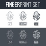 Fingerprint. Abstract Set of Fingerprints Icons for Security ID on Dark and White Background Royalty Free Stock Photography