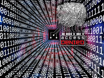 Fingerprint Access. Interplay of fingerprint, digital circuitry and technological background on the subject of security, hacking, online accounts and privacy Stock Photography