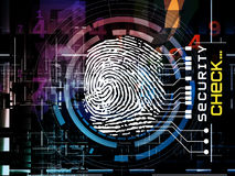 Fingerprint Access. Interplay of fingerprint, digital circuitry and technological background on the subject of security, hacking, online accounts and privacy Royalty Free Stock Photography