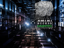 Fingerprint Access. Interplay of fingerprint, digital circuitry and technological background on the subject of security, hacking, online accounts and privacy Stock Photos