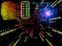 Fingerprint Access. Interplay of fingerprint, digital circuitry and technological background on the subject of security, hacking, online accounts and privacy Royalty Free Stock Images