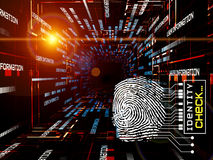 Fingerprint Access. Interplay of fingerprint, digital circuitry and technological background on the subject of security, hacking, online accounts and privacy Royalty Free Stock Photo