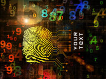 Fingerprint Access. Interplay of fingerprint, digital circuitry and technological background on the subject of security, hacking, online accounts and privacy Stock Image