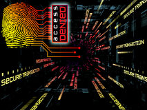 Fingerprint Access. Interplay of fingerprint, digital circuitry and technological background on the subject of security, hacking, online accounts and privacy Royalty Free Stock Image
