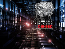 Fingerprint Access. Interplay of fingerprint, digital circuitry and technological background on the subject of security, hacking, online accounts and privacy Royalty Free Stock Photos