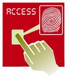 Fingerprint access  illustration. Vector illustration  hand over fingerprint scanner device Royalty Free Stock Photo