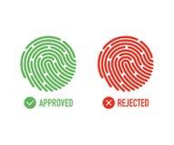 fingerprint Akceptujący i odrzucający stanu uwierzytelnienia symbole na białym tle również zwrócić corel ilustracji wektora ilustracja wektor