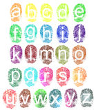 Fingerprint alphabet. Colorful fingerprint alphabet in lower case isolated on a white background suitable for touchscreen technology Stock Photos