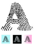 Fingerprint Alphabet Letter A. (Highly detailed Letter - transparent so can be overlaid onto other graphics Stock Photography