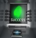 Fingerprint and atm security concept. 3d high quality render Royalty Free Stock Image