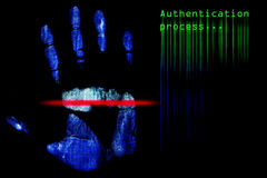 Fingerprint Authentication. High resolution image of human hand during biometric fingerprint scan for identification. Useful for access or security concepts Royalty Free Stock Photo