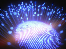 Fingerprint Binary Code. 3D illustration. Fingerprint emitting binary codes Royalty Free Stock Image