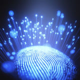 Fingerprint Binary Code. 3D illustration. Fingerprint emitting binary codes Royalty Free Stock Photo