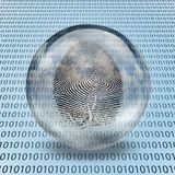 Fingerprint and binary code. Fingerprint Enclosed in Glass and binary code Stock Images