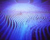 Fingerprint Binary Code Labyrinth. Fingerprint in labyrinth form, with binary codes in reference to individual identity Royalty Free Stock Images