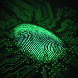 Fingerprint Binary Microchip. 3D illustration. Fingerprint integrated in a printed circuit Royalty Free Stock Image