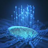 Fingerprint Binary Microchip. 3D illustration. Fingerprint integrated in a printed circuit, releasing binary codes Stock Photos
