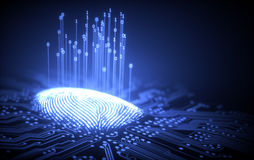 Fingerprint Binary Microchip. 3D illustration. Fingerprint integrated in a printed circuit, releasing binary codes Royalty Free Stock Photo